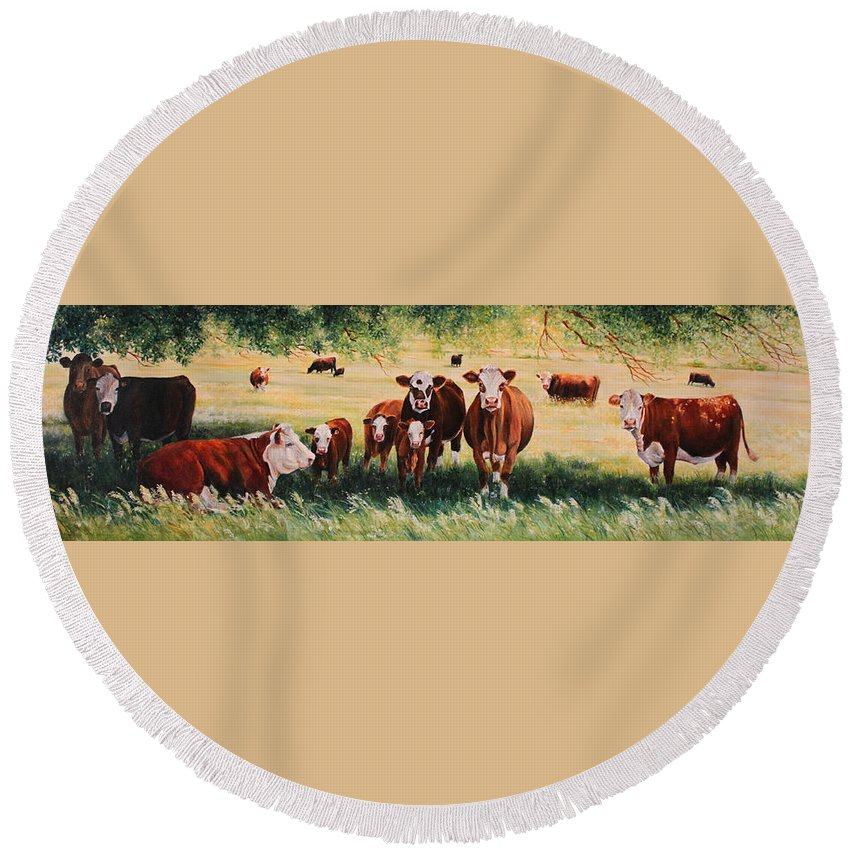 Hereford Round Beach Towel featuring the painting Summer Pastures by Toni Grote