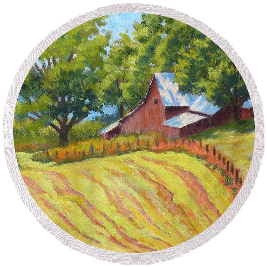 Landscape Round Beach Towel featuring the painting Summer Patterns by Keith Burgess