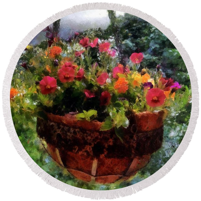 Flowers Round Beach Towel featuring the painting Summer Picture Window by RC DeWinter