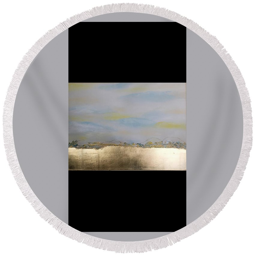 Landscape Round Beach Towel featuring the mixed media Summer by Rokia Maizi