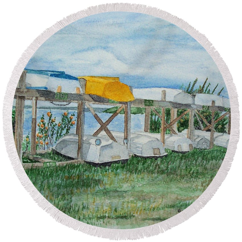 Rowboats Round Beach Towel featuring the painting Summer Row Boats by Dominic White