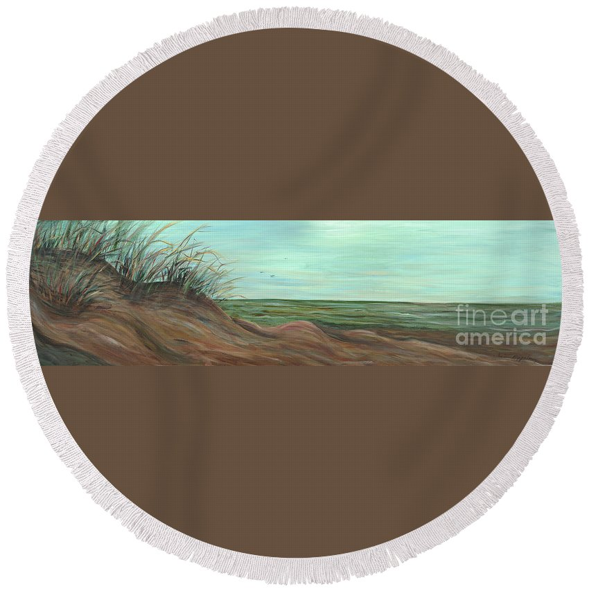 Summer Round Beach Towel featuring the painting Summer Sand Dunes by Nadine Rippelmeyer