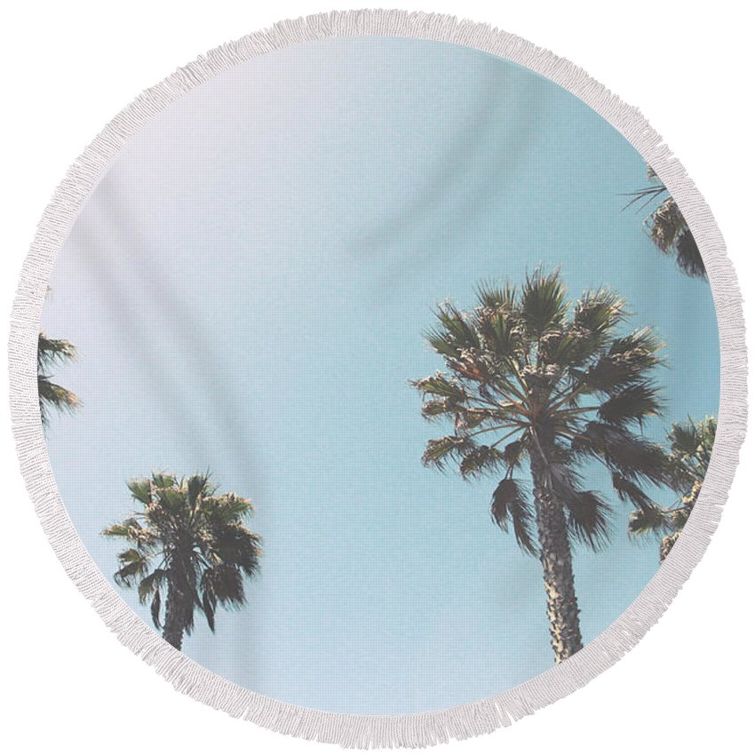 Palm Trees Round Beach Towel featuring the photograph Summer Sky- by Linda Woods by Linda Woods