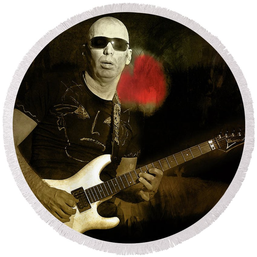 Joe Satriani Round Beach Towel featuring the mixed media Summer Song by Mal Bray