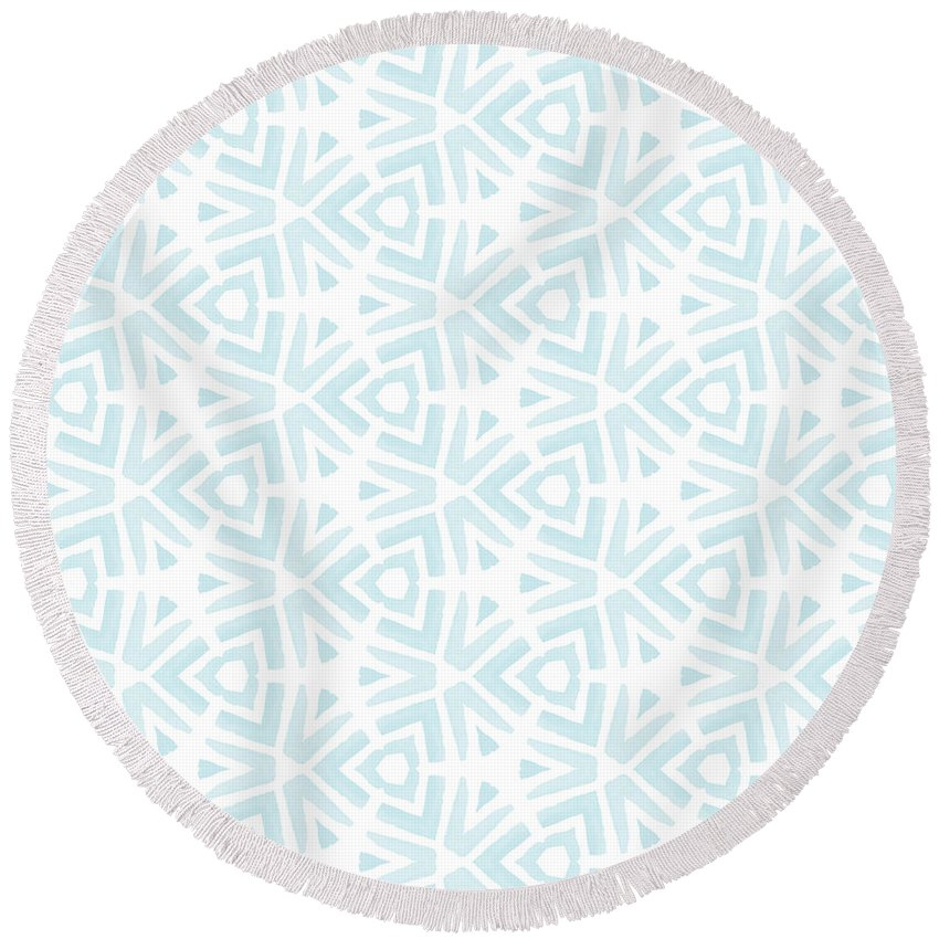 Aqua Digital Art Round Beach Towels