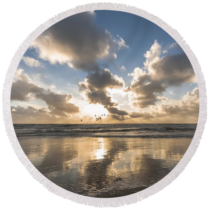 Sunset Round Beach Towel featuring the photograph Summer Storm by Alex Hiemstra