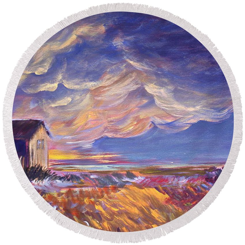 Summer Prairie Storm Round Beach Towel featuring the painting Summer Storm by Joanne Smoley
