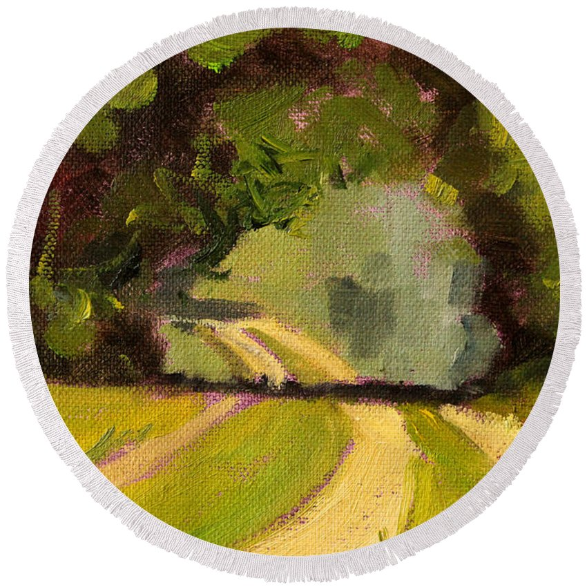 Summer Landscape Painting Round Beach Towel featuring the painting Summer Stroll by Nancy Merkle