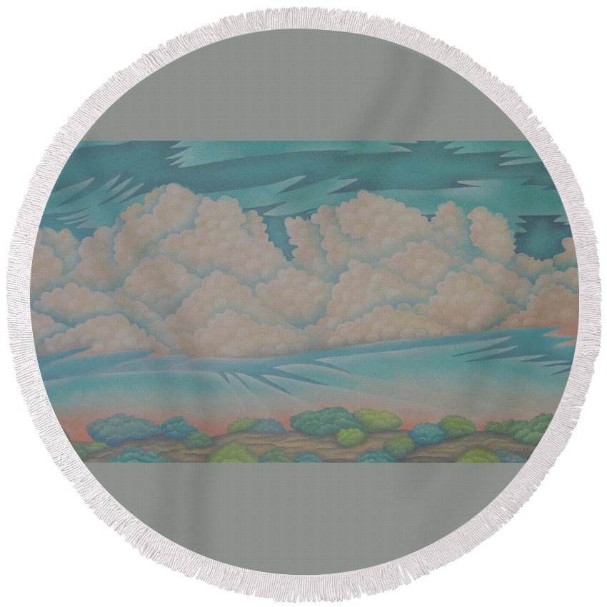 Landscape Round Beach Towel featuring the painting Summer Sunrise by Jeniffer Stapher-Thomas