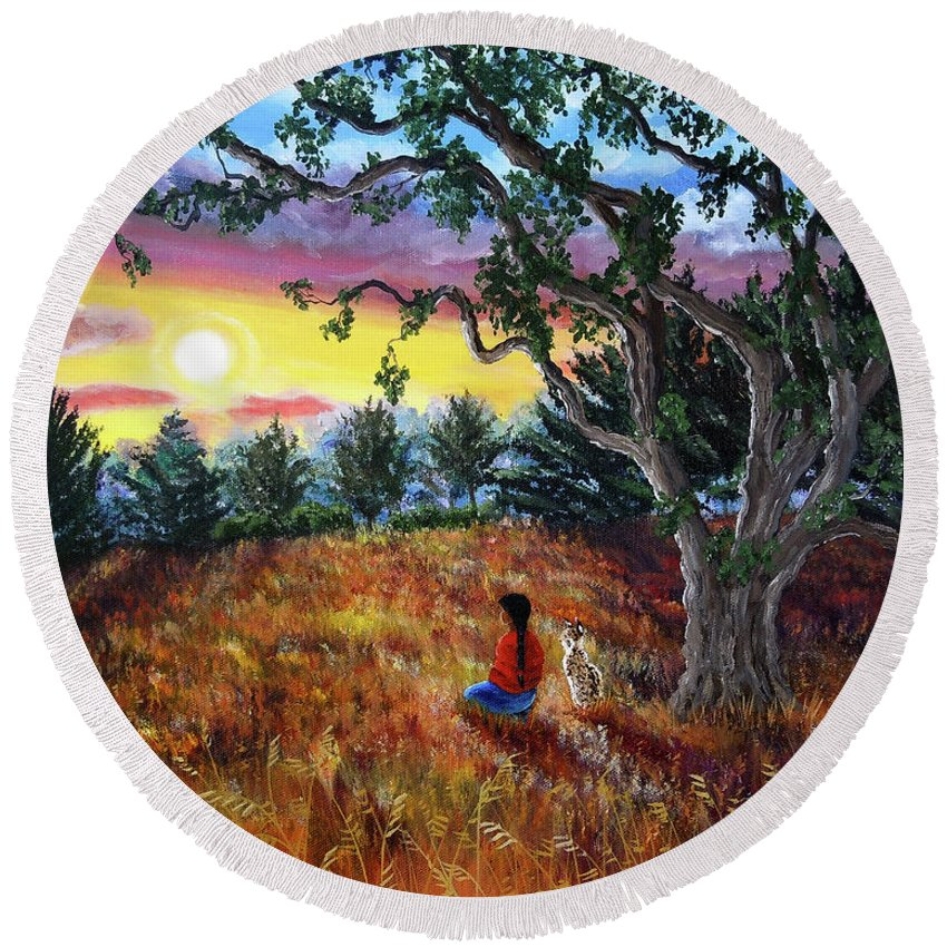 Landscape Round Beach Towel featuring the painting Summer Sunset Meditation by Laura Iverson