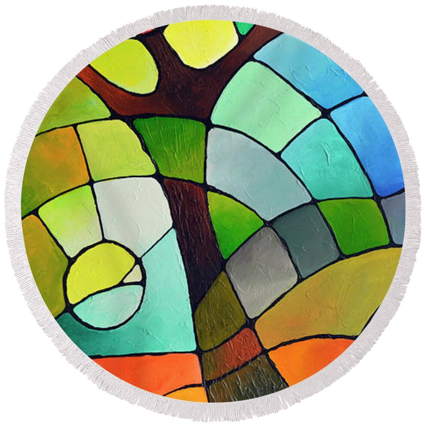 Geometric Round Beach Towel featuring the painting Summer Tree by Sally Trace