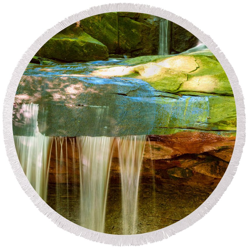 Blue Hen Round Beach Towel featuring the photograph Summer Waterfall by Kenneth Sponsler
