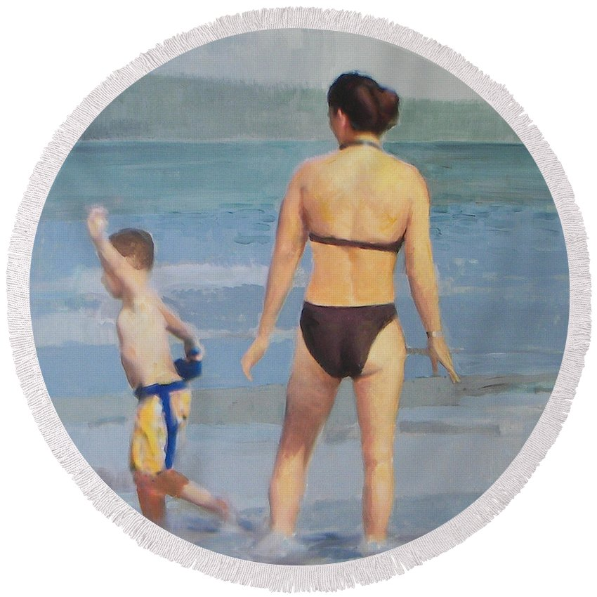 Figures Round Beach Towel featuring the painting Summer's Day by Thomas Tribby