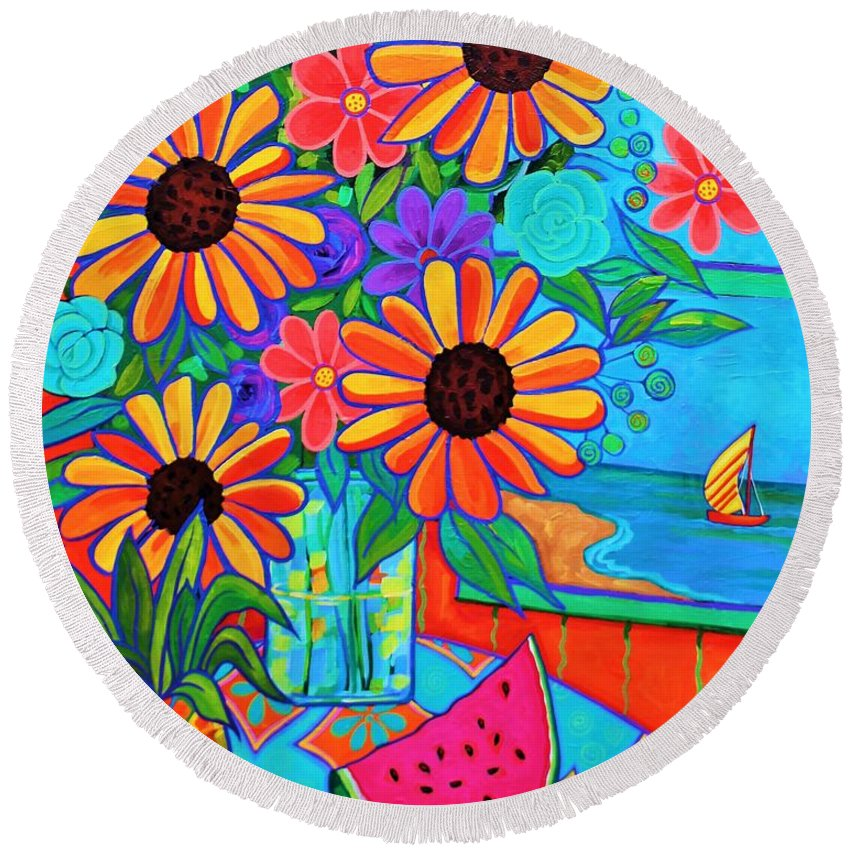 Sunflower Round Beach Towel featuring the painting Summers Dream by Peggy Davis