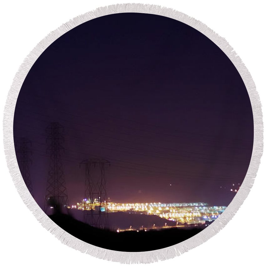 Clay Round Beach Towel featuring the photograph Summer's Night In The Valley by Clayton Bruster