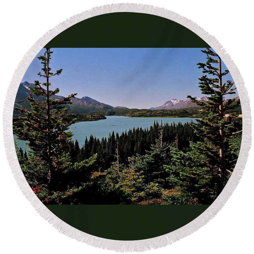 North America Round Beach Towel featuring the photograph Tagish Lake - Yukon by Juergen Weiss