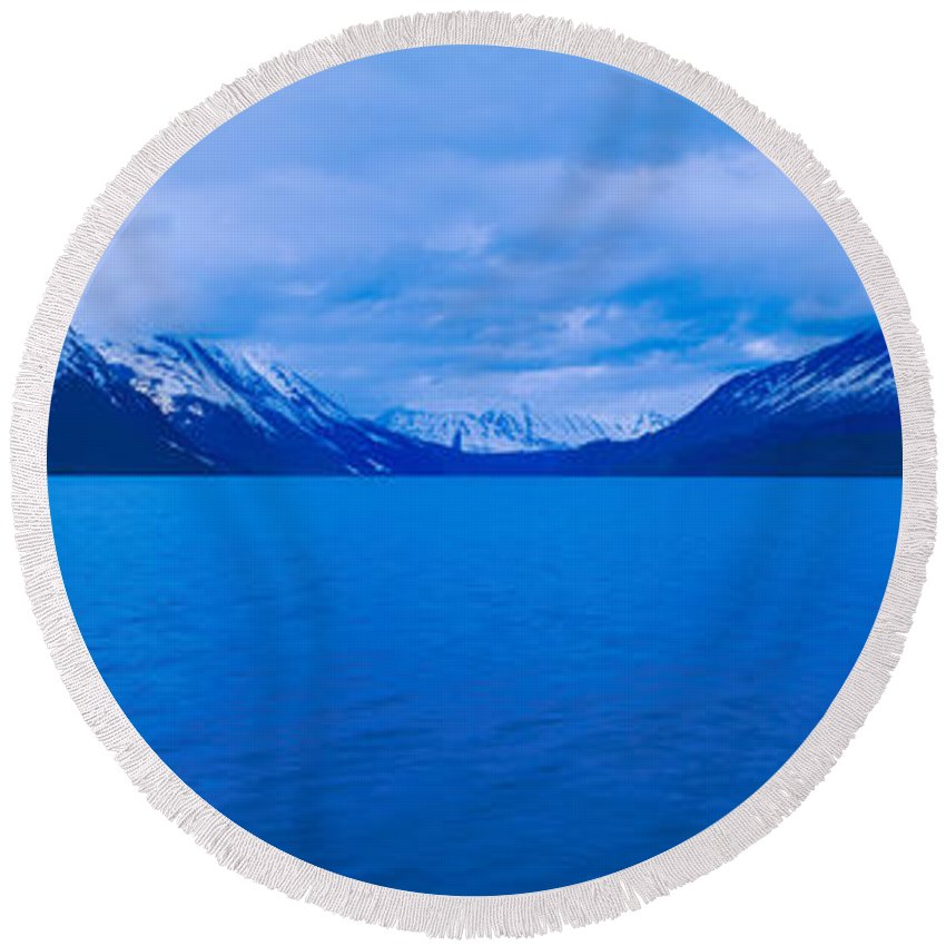 Photography Round Beach Towel featuring the photograph Summit Lakes Along Seward Highway by Panoramic Images