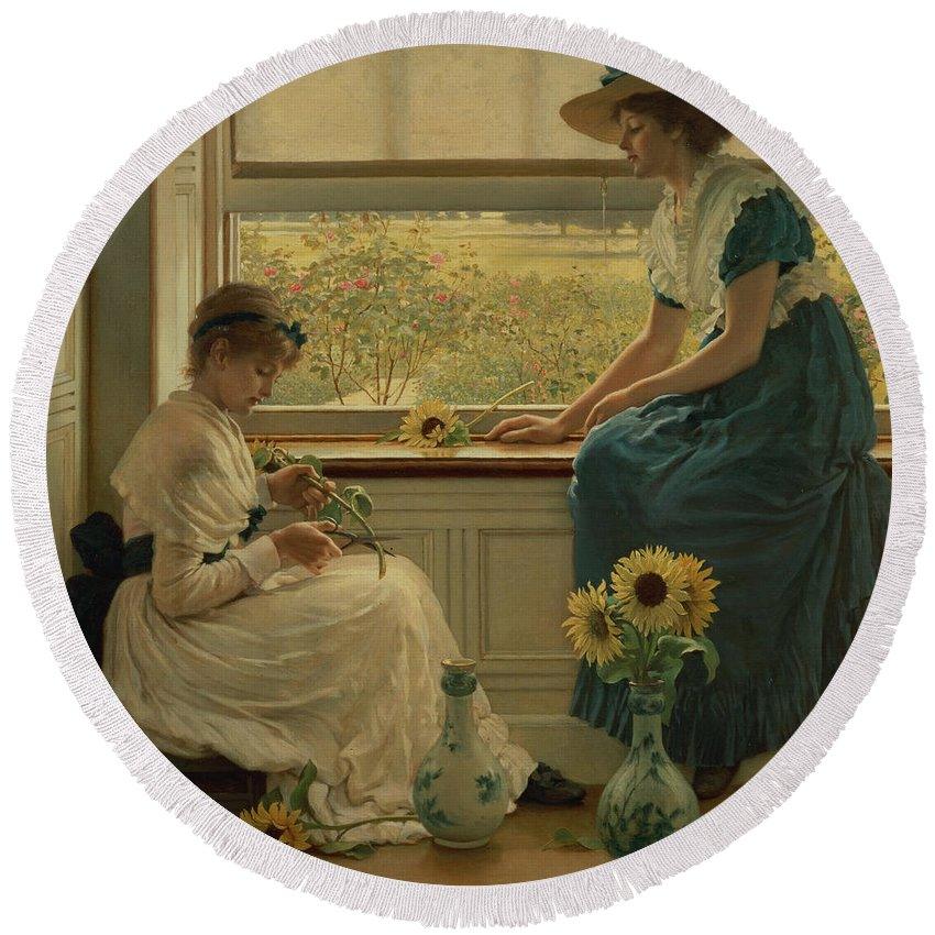Sunflower Round Beach Towel featuring the painting Sun And Moon Flowers by George Dunlop Leslie