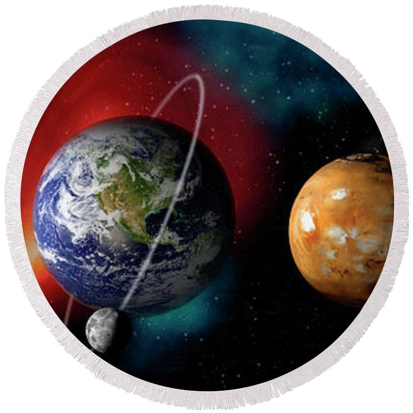 Planets Round Beach Towels
