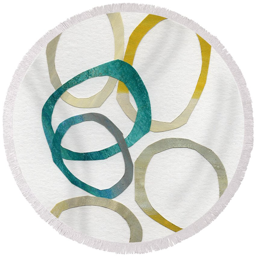Abstract Art Round Beach Towel featuring the mixed media Sun and Sky- abstract art by Linda Woods