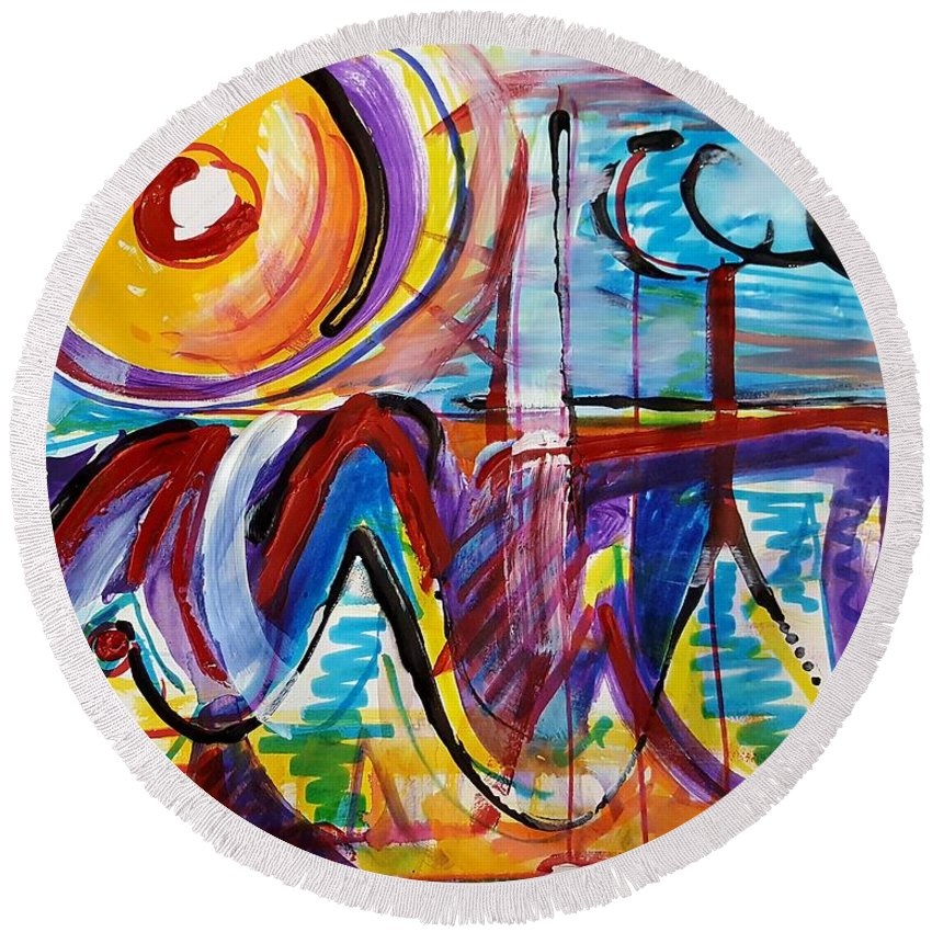 Acrylic Painting Round Beach Towel featuring the mixed media Sun And Waves by Jane Renzi