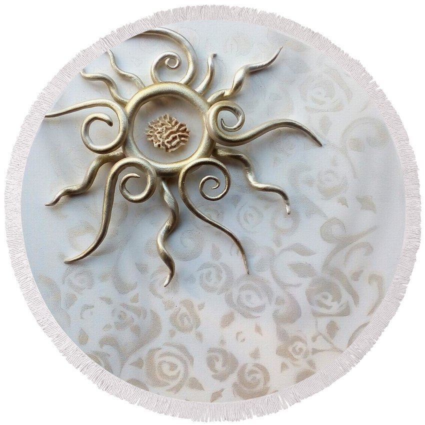 Roses Round Beach Towel featuring the sculpture Sun Catcher by Ines nanda Drole