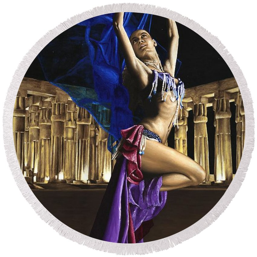 Belly Round Beach Towel featuring the painting Sun Court Dancer by Richard Young