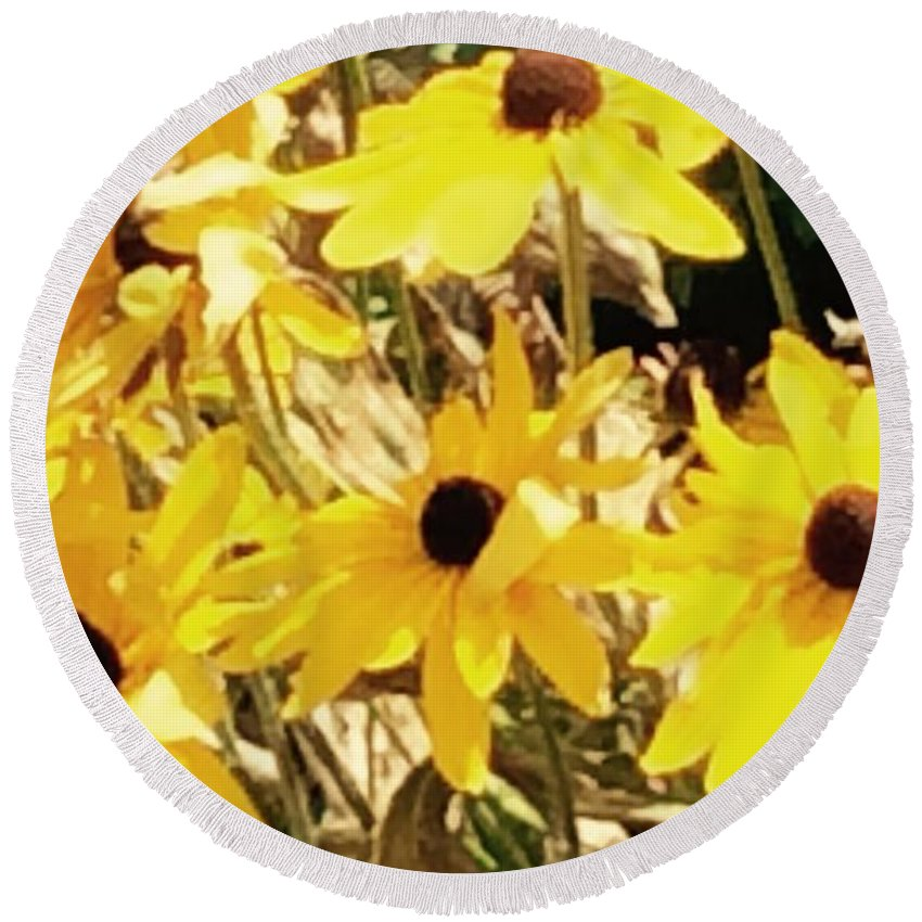 Sunflowers Round Beach Towel featuring the photograph Sun Flower Glory by Sharon Allen