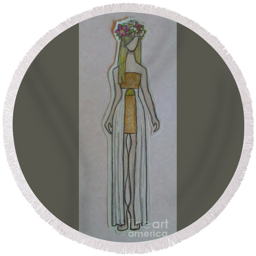 Katherine Collection Round Beach Towel featuring the drawing Sun Goddess by Loretta Ransom