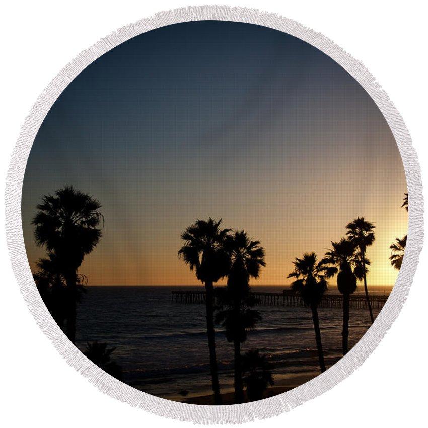 San Clemente Round Beach Towel featuring the photograph Sun Going Down In California by Ralf Kaiser