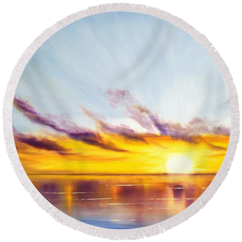 Sunset Original Painting Gold Yellow And Orange Colors Art By Gina De Gorna Colorful Seascape Round Beach Towel featuring the painting Sun In A Lake by Gina De Gorna