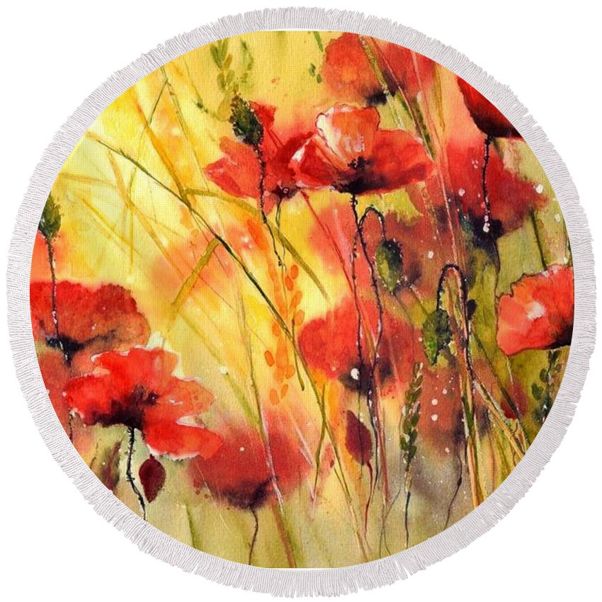 Red Round Beach Towel featuring the painting Sun Kissed Poppies by Suzann Sines
