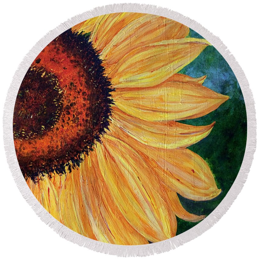 Sunflower Round Beach Towel featuring the painting Sun Lover by Sole Avaria