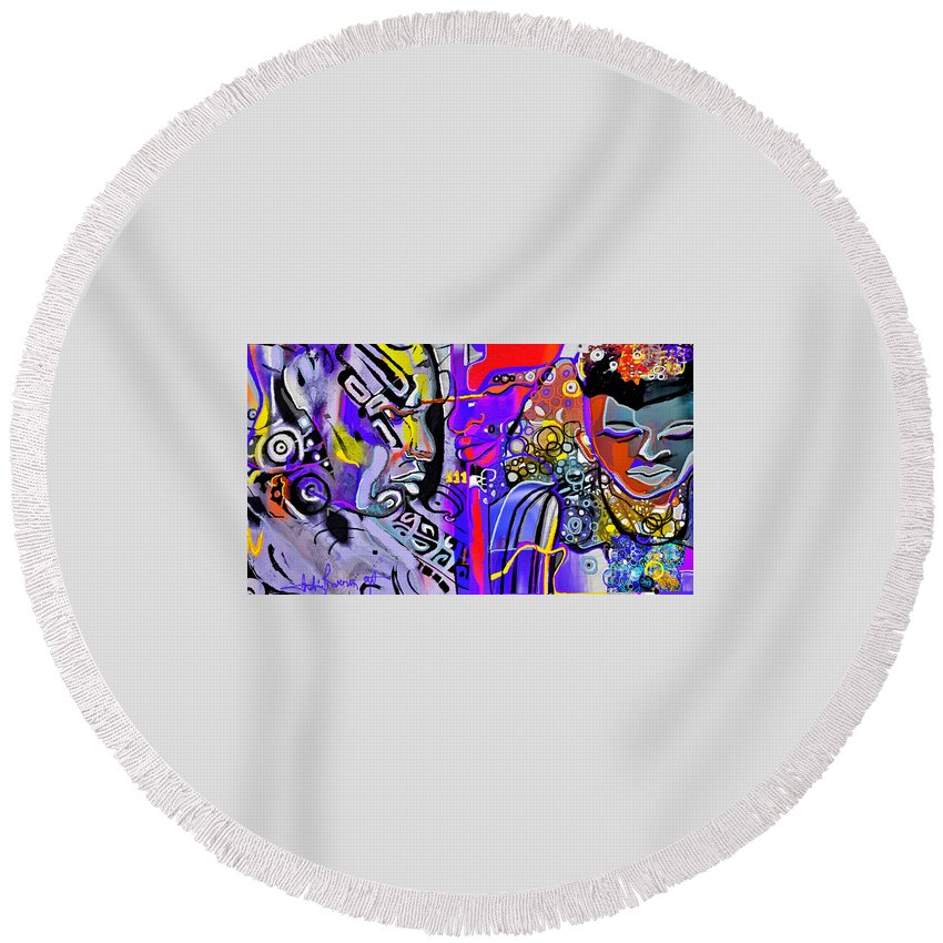 Round Beach Towel featuring the mixed media Sun N Moon by Jackie Pecoroni