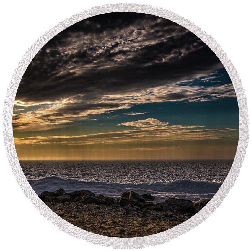 Beach Round Beach Towel featuring the photograph Sun Peeks Through by Onyonet Photo Studios