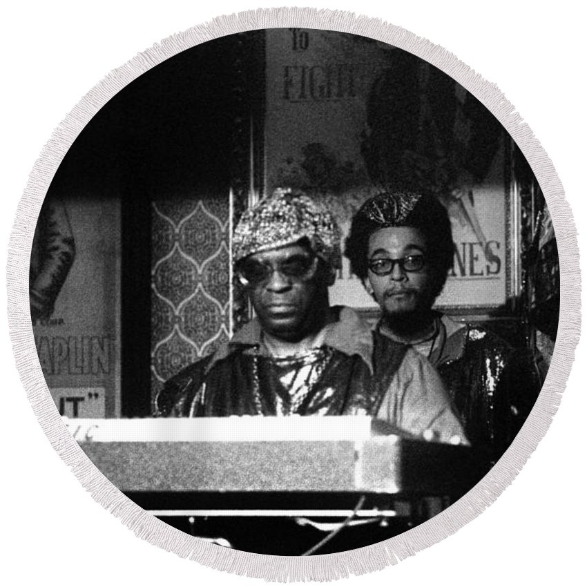 Jazz Round Beach Towel featuring the photograph Sun Ra Arkestra At The Red Garter 1970 Nyc 8 by Lee Santa