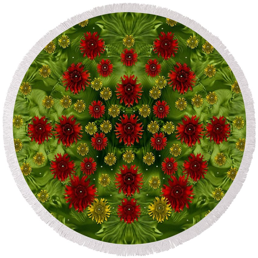 Sunflower Round Beach Towel featuring the mixed media Sun Roses In The Deep Dark Forest With Fantasy And Flair by Pepita Selles