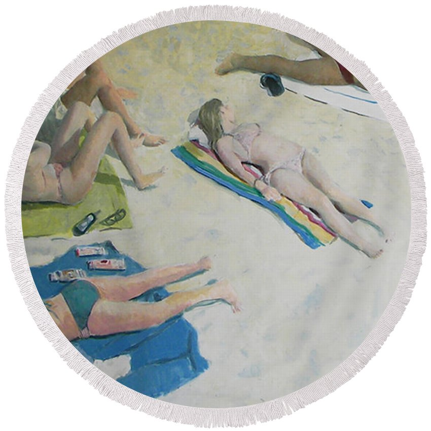 Figures Round Beach Towel featuring the painting Sun Worship by Thomas Tribby