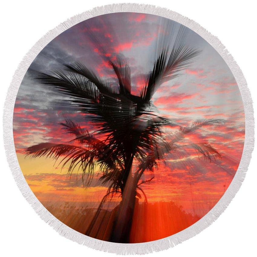 Palm Tree Round Beach Towel featuring the photograph Sunburst Through Palm Tree by Dick Hopkins
