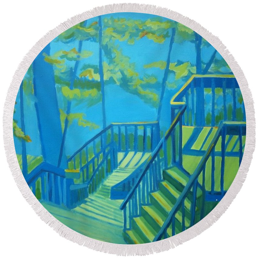 New Hampshire Round Beach Towel featuring the painting Suncook Stairwell by Debra Bretton Robinson