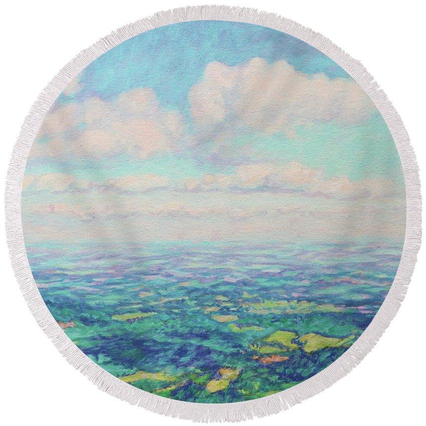 Bonnie Mason Round Beach Towel featuring the painting Sundance by Bonnie Mason