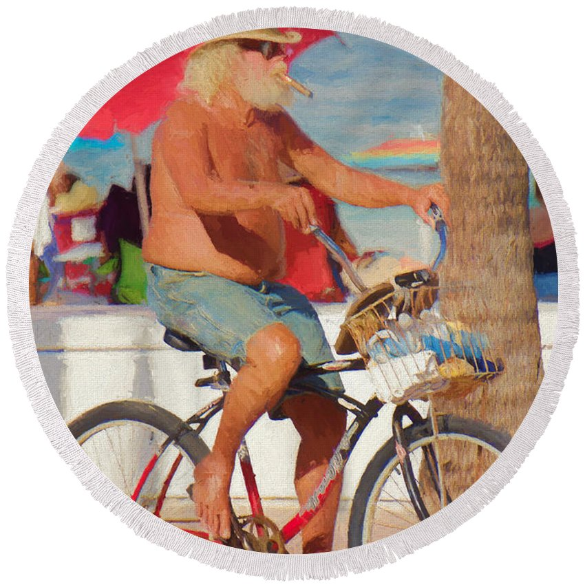 Man Round Beach Towel featuring the painting Sunday Afternoon by Judy Kay