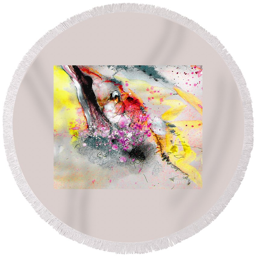 Pastel Painting Round Beach Towel featuring the painting Sunday By The Tree by Miki De Goodaboom