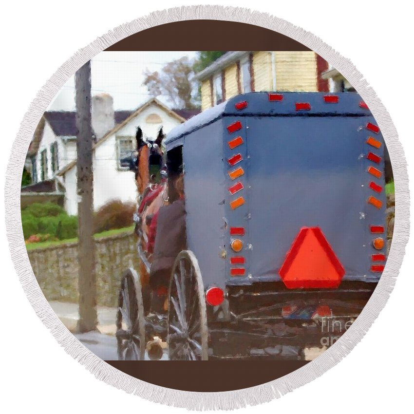 Amish Round Beach Towel featuring the photograph Sunday Courting by Debbi Granruth