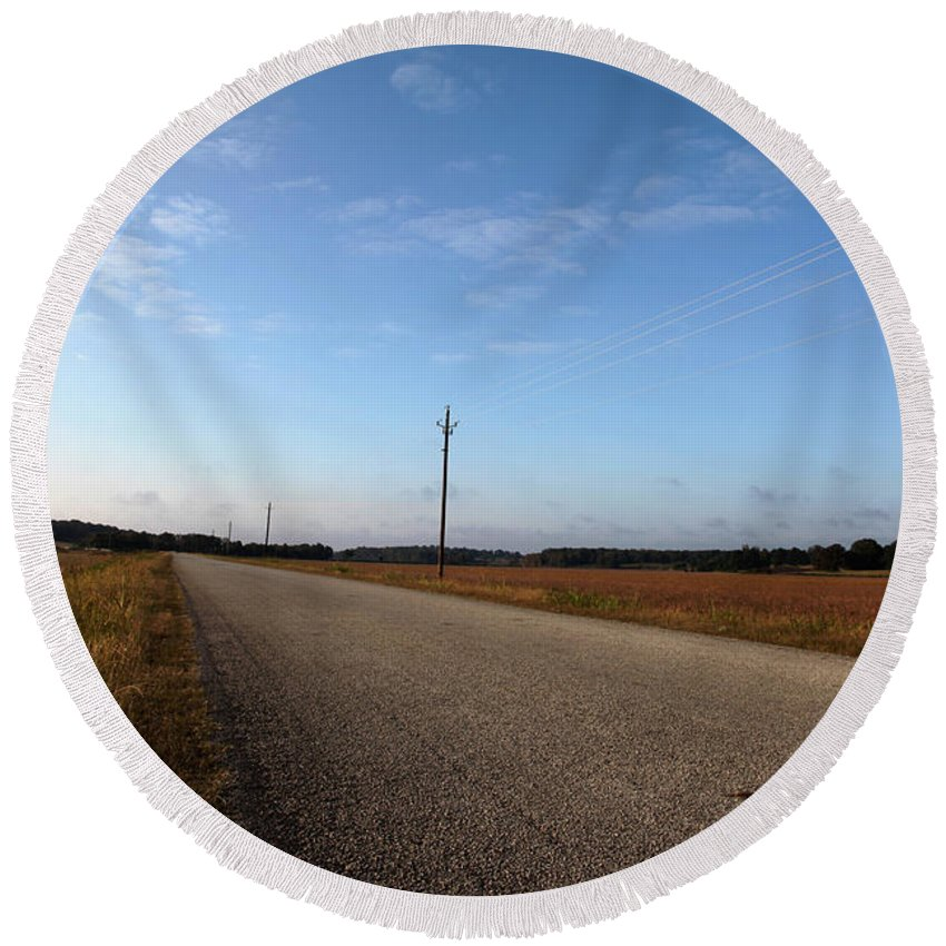 Roads Round Beach Towel featuring the photograph Sunday Drive Series by Amanda Barcon