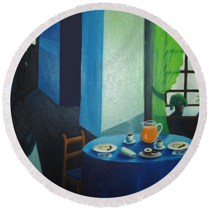 Breakfast Round Beach Towel featuring the painting Sunday Morning Breakfast by Nancy Mueller