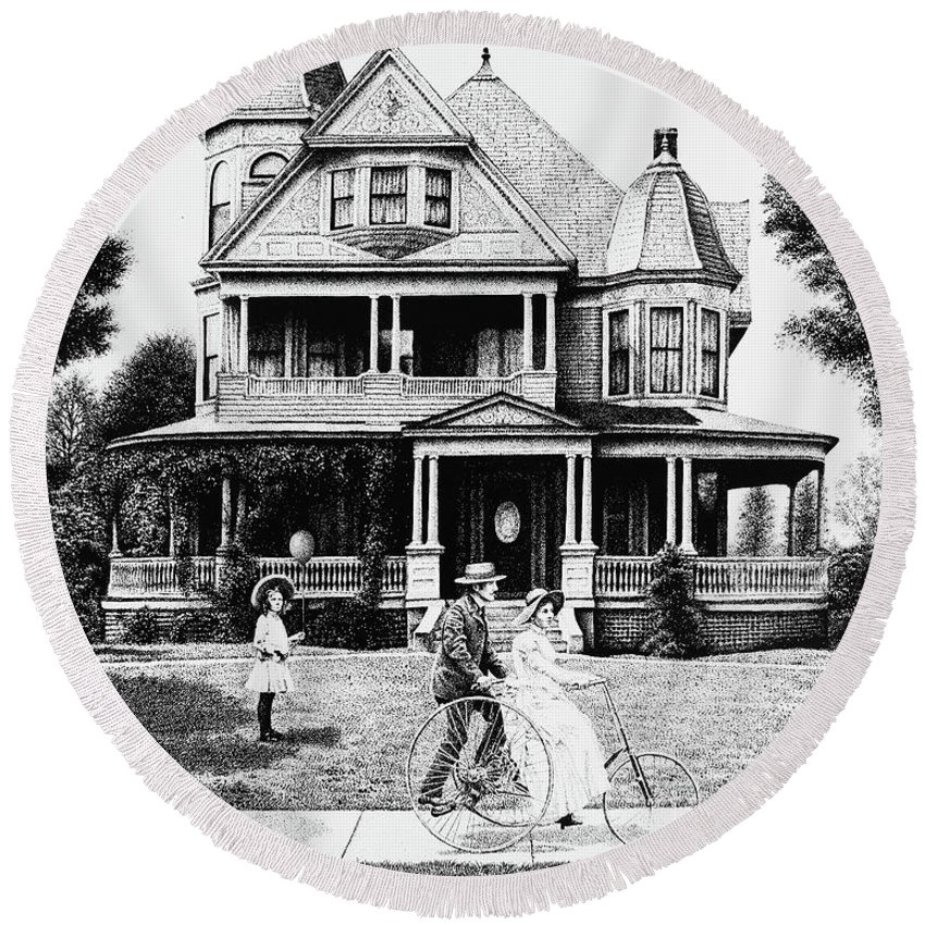 Victorian House Round Beach Towel featuring the drawing Sunday Morning Two by Don Locke