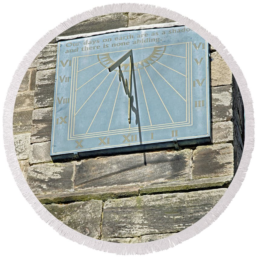 Tutbury Round Beach Towel featuring the photograph Sundial On St Mary's Church - Tutbury by Rod Johnson