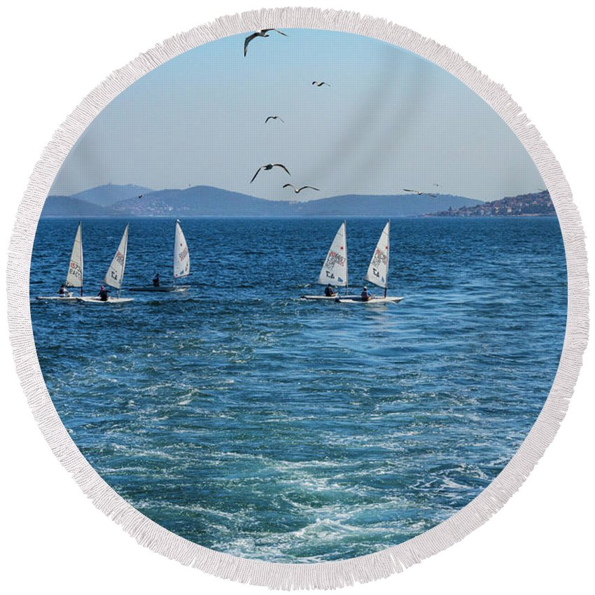 Istanbul Turkey Black-backed Gull Gulls Seagull Seagulls Bird Birds Animal Animals Creature Creature Marmara Sea Seas Water Waterscape Waterscape Boat Sunfish Boats Men Man Person Persons People Round Beach Towel featuring the photograph Sunfish Boats by Bob Phillips