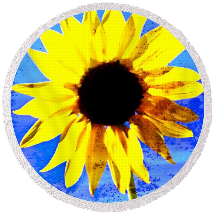 Sunflower Round Beach Towel featuring the photograph Sunflower 12 by Marty Koch
